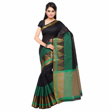 2017 New Design Black And Green Cotton Silk Jacquard Women Saree