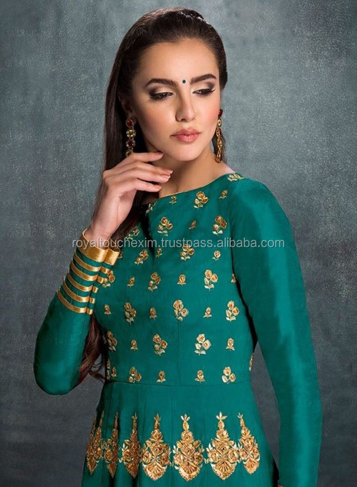 Latest Designer rama color bangaluri silk embroidered anarkali salwar suit