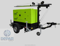 Mobile Generator Light Tower 80.000lumen 10kw genset EN Power with Trailer Single Axle Manual Mast
