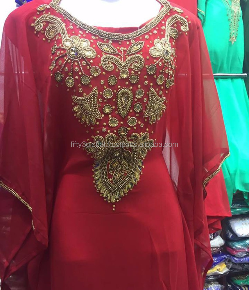 Charming Red Kaftan,Farsha,Jalabiya Prom Dress Great Design Muslim Woman Appliqued Evening Dress