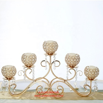Crystal Gold Metal Horizontal Table Candle Stand