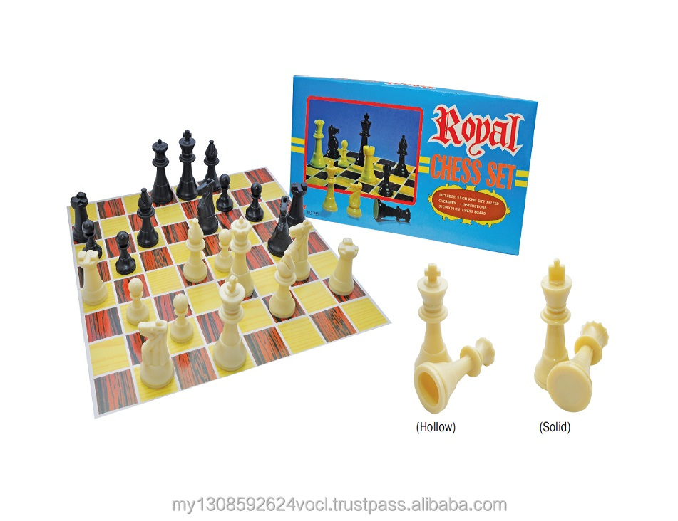 Plastic royal chess set with cardboard