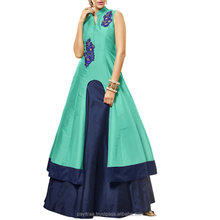 Mind-blowing Sky blue and Navy blue Color Indo Western Dress.