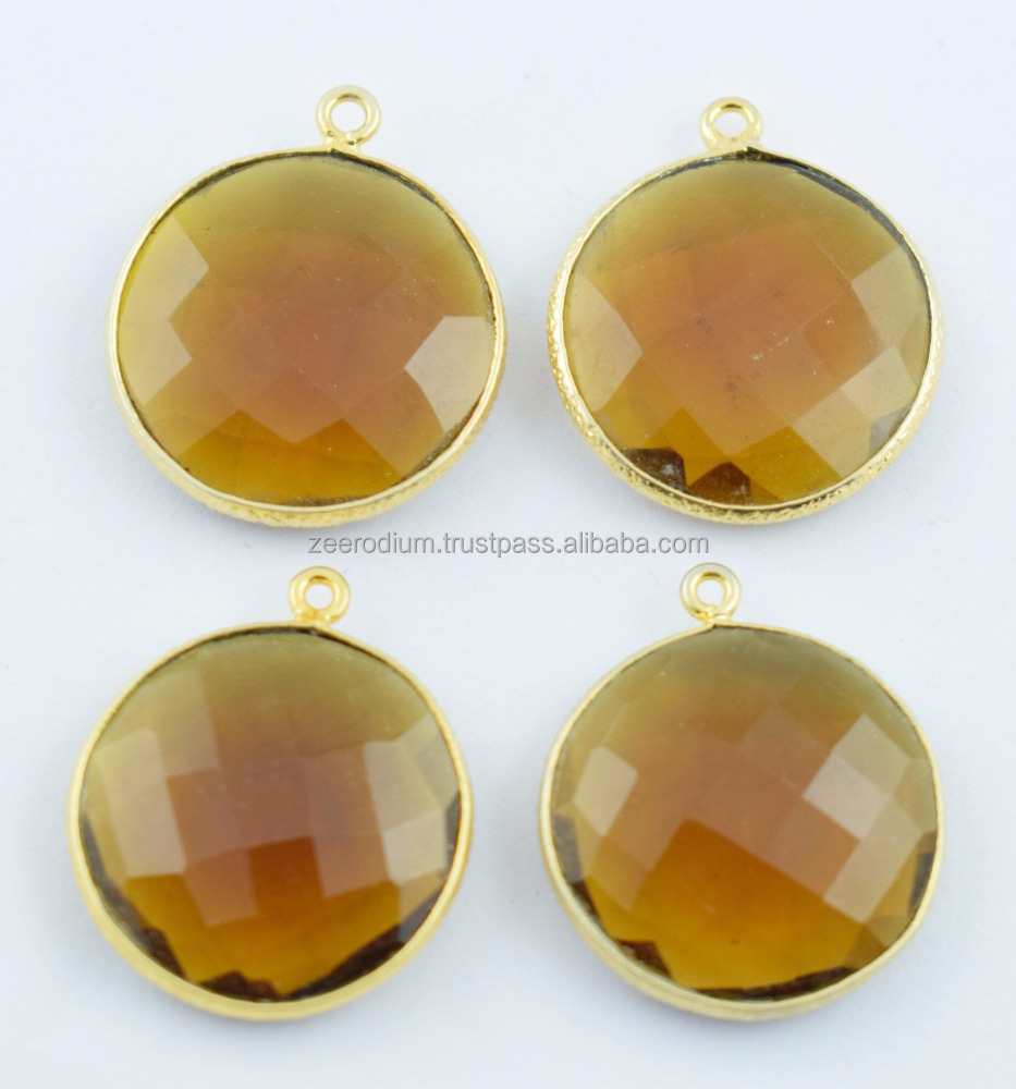 4 Pcs Citrine Hydro Faceted Round Single Bail Connector 24k Gold Plated Bezel Set Gemstone Pendant