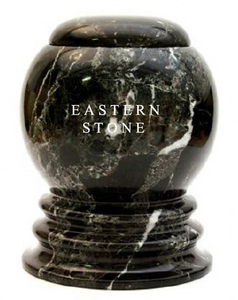 LARGE BLACK MARBLE FUNERAL URNS FOR ADULTS, DECORATIVE STONE CREMATION URNS FOR HUMAN ASHES
