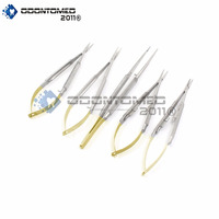 NEW SET OF 5 GERMAN GRADE STAINLESS CASTROVIEJO MICRO SCISSORS NEEDLE HOLDER STR+ CVD + TYING FORCEPS DENTAL EYE INSTRUMENTS