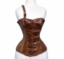 High Quality Overbust Genuine Leather Brown Corset with 1 Sided Shoulder Strap