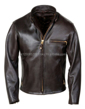 Classic Leather Motorcycle Jacket (Brown)