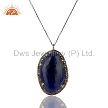 Natural Blue Sapphire Gemstone Diamond Pendant Black Rhodium Plated 925 Silver Chain Pendant Manufacturer