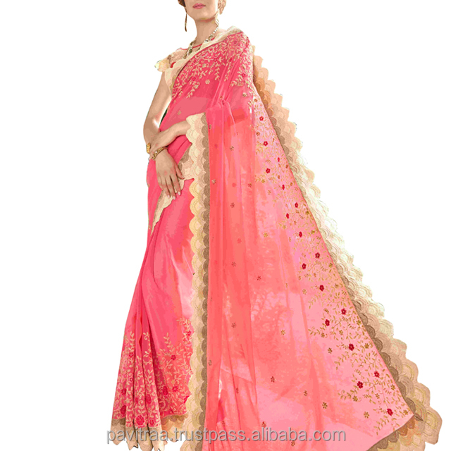 Embroidered Art Silk Pink Color Party Wear Saree
