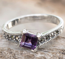 New Latest Designs 925 Sterling Silver Jewelry Handmade AA Quality Amethyst Purple Gemstone Ring