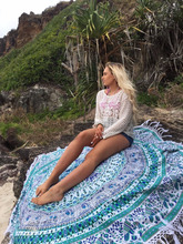 Indian 100% cotton bohemian mandala printed round beach towel with white tassel