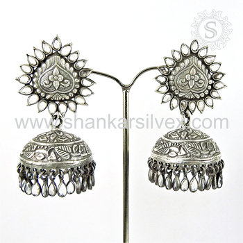 Indian jhumka crystal gemstone earring silver jewellery wholesaler 925 sterling silver jewelry online
