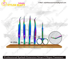 Multy Colors Tweezers And Scissor / Stanless Steel Eyelash Extension Tweezers From Stylish Beauty Industry