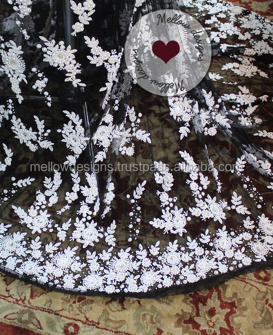 Black and white pearl wedding fabric applique for saree lehenga evening gown
