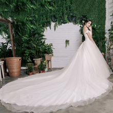 Newest Design For Pleated Bodice Bridal Wedding Dress/ Cathedral Train Bridal Gown