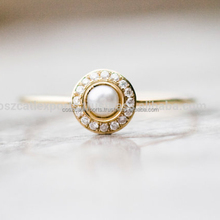White pearl wedding ring with diamonds in 14k gold pearl engagement ring fine jewelry