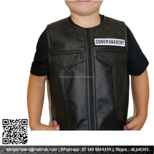 KIDS YOUTH GOAT LEATHER MACHINE EMBROIDERED BIKER VEST