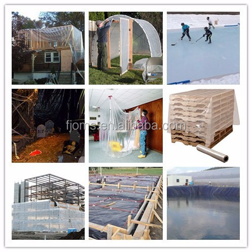 Blue plastic poly film for roof covering