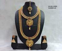 Latest South Indian Temple Laxmi Princess Red Necklace Set Wholesale Traditional Bridal Wedding 18k Gold Plated Jewelry
