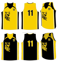 Yellow TIger Design Basketball Uniform / Jersey With 100% Polyester Fabric