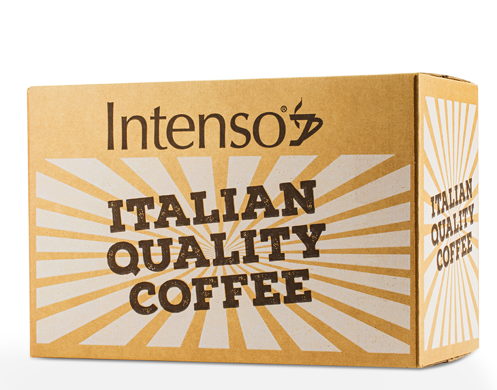 Classic Blend Coffee - Intenso Kit - 150 Coffee pods, 150 Sugar bags , 150 wooden stirrers, 150 paper espresso cups