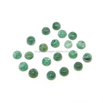 Green aventurine semi precious 4mm round cabochon 0.40 cts loose gemstone for jewelry
