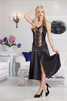 Jasmin Lingerie Lace and Satin Long Nightwear