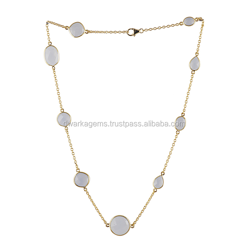 Necklace fashion accessories blue chalcedony gemstone silver necklace