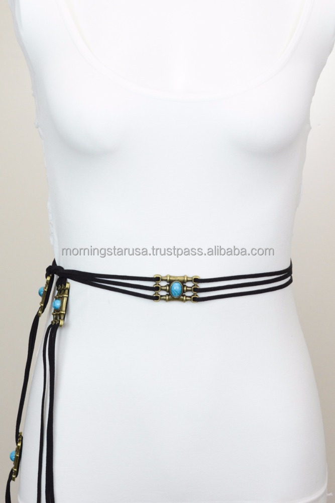Bohemian Three Rope Suede Turquoise Stone Belt Trendy Cute YB-1208