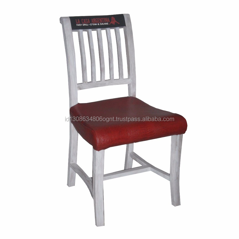 Modern Design Wooden Teak Dining Chairs with Top Leather Indonesia Furniture