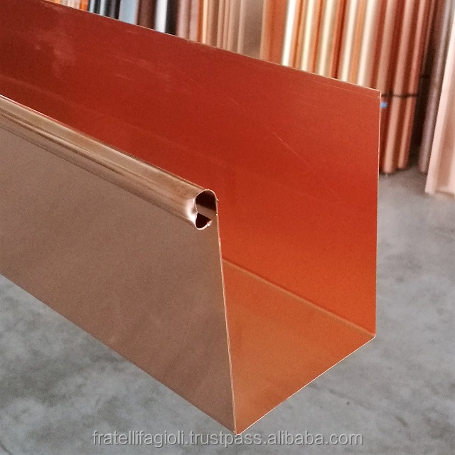 Copper rain gutter systems for metal building materials