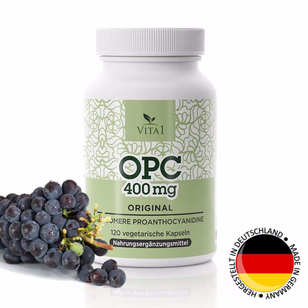 VITA1 OPC capsules, 334mg grapeseed axtract (200mg OPC), MADE IN GERMANY