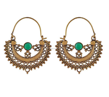 hot selling handmade green onyx earring tribal brass woman jewelry hoop earring