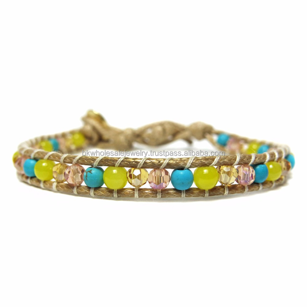 JJBR199B040 Turquoise Lime Jade Real Stone Bracelet Tibetan Natural Stone Jewelry Made in THAILAND products Boho Bracelet