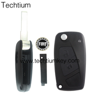 3 button car modified folding flip remote key shell case with blade logo for Fiat 500