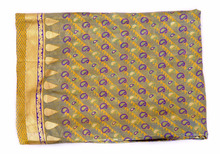 Indian Yellow Banarasi Silk Saree With Unstitched Blouse Piece Craft Paisley Fabric
