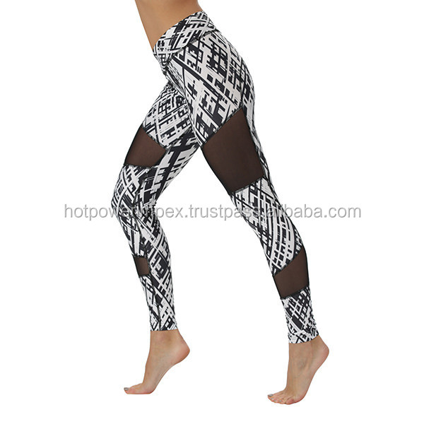 Cross Stripes Mesh Leggings- legging for women