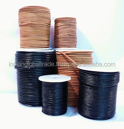 0.5mm Round Leather Cords in Natural Black Color from Indian Global Trade