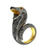 Antique 925 Sterling Silver Vintage Style Jewelry Genuine Diamond Serpent Ring