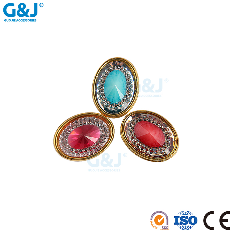Guojie brand wholesale hot sale customized color beauty shoes wear oval acylic cup with resin stone