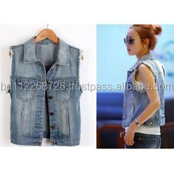 Ladies denim vest jacket