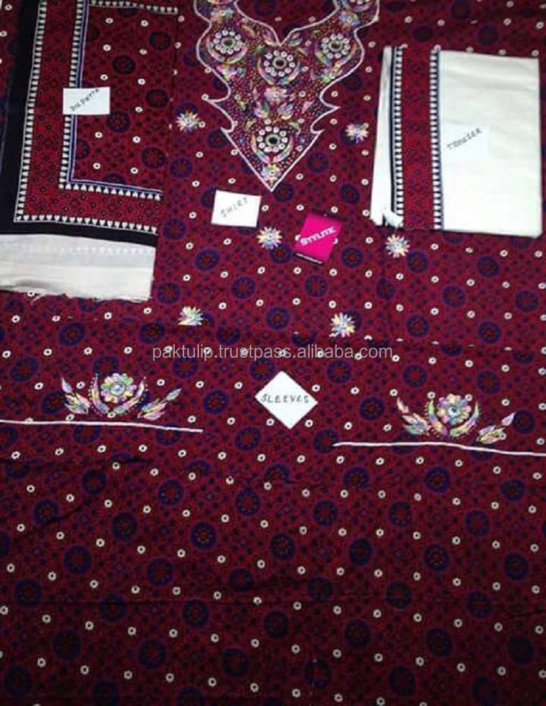 BLOCK AJRAK PRINT PAKISTANI CULTURAL LADIES SHALWAR QAMEEZ FABRIC FOR 3 PIECE SUITS
