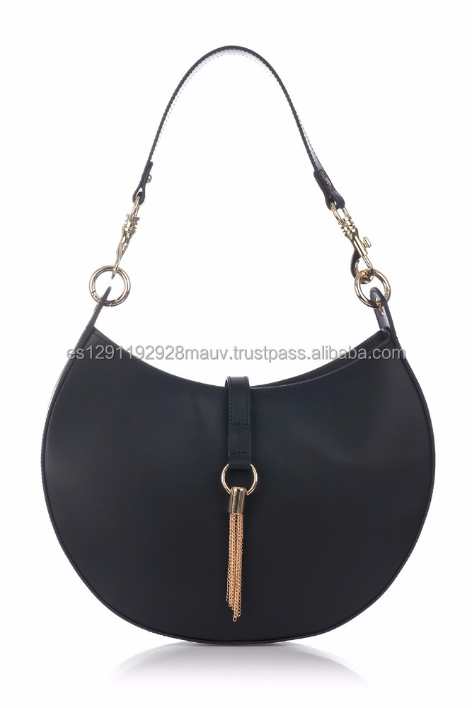 Genuine Leather Handbag with golden strip and half moon form