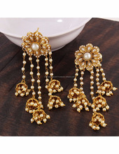 Fashion jewelry gold plated stylish fancy party wear pearl jhumka jhumki traditional earrings
