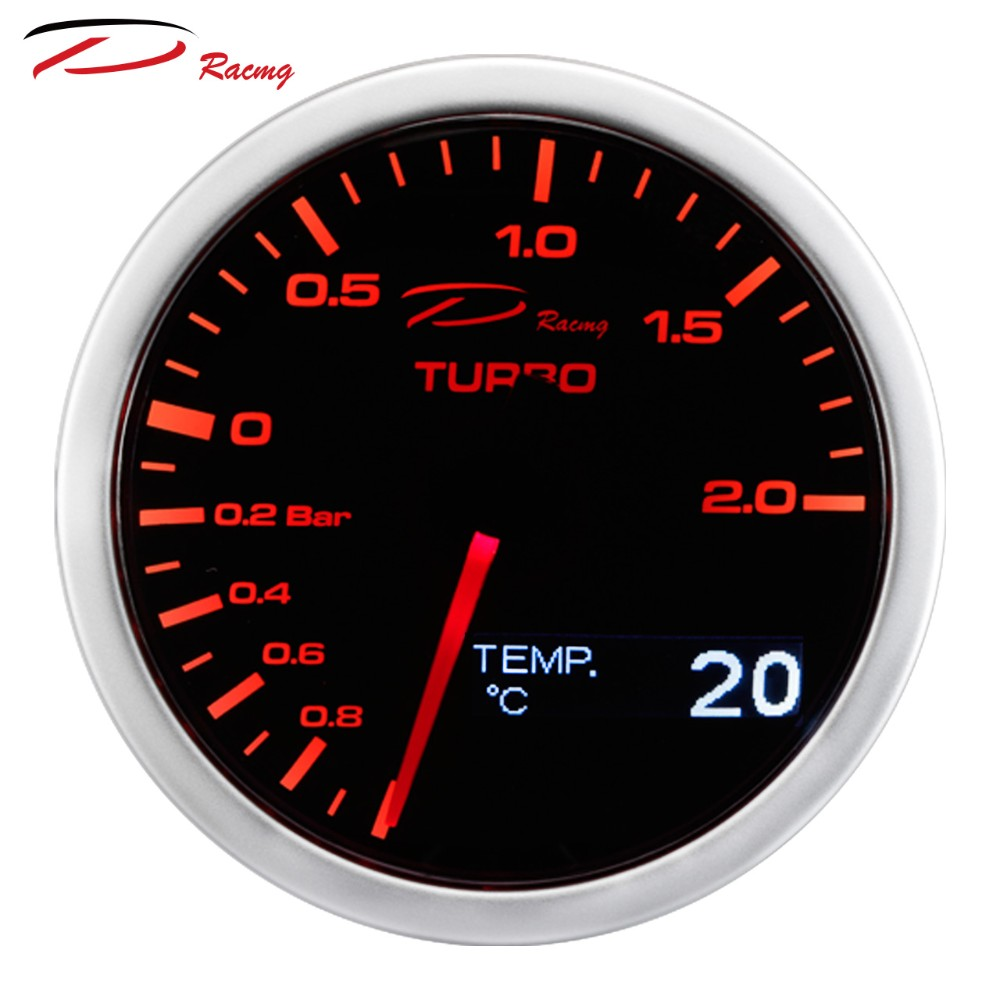 60mm 2in1 Boost Turbo Gauge + Water Oil Temp Analog+ OLED Japan Stepper Motor Auto Gauge