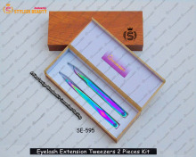 Looking Awseome Wooden kIt / Eyelash Tweezers 2 pieces In Kit , Easy To Use Tweezers From Stylish Beauty Industry