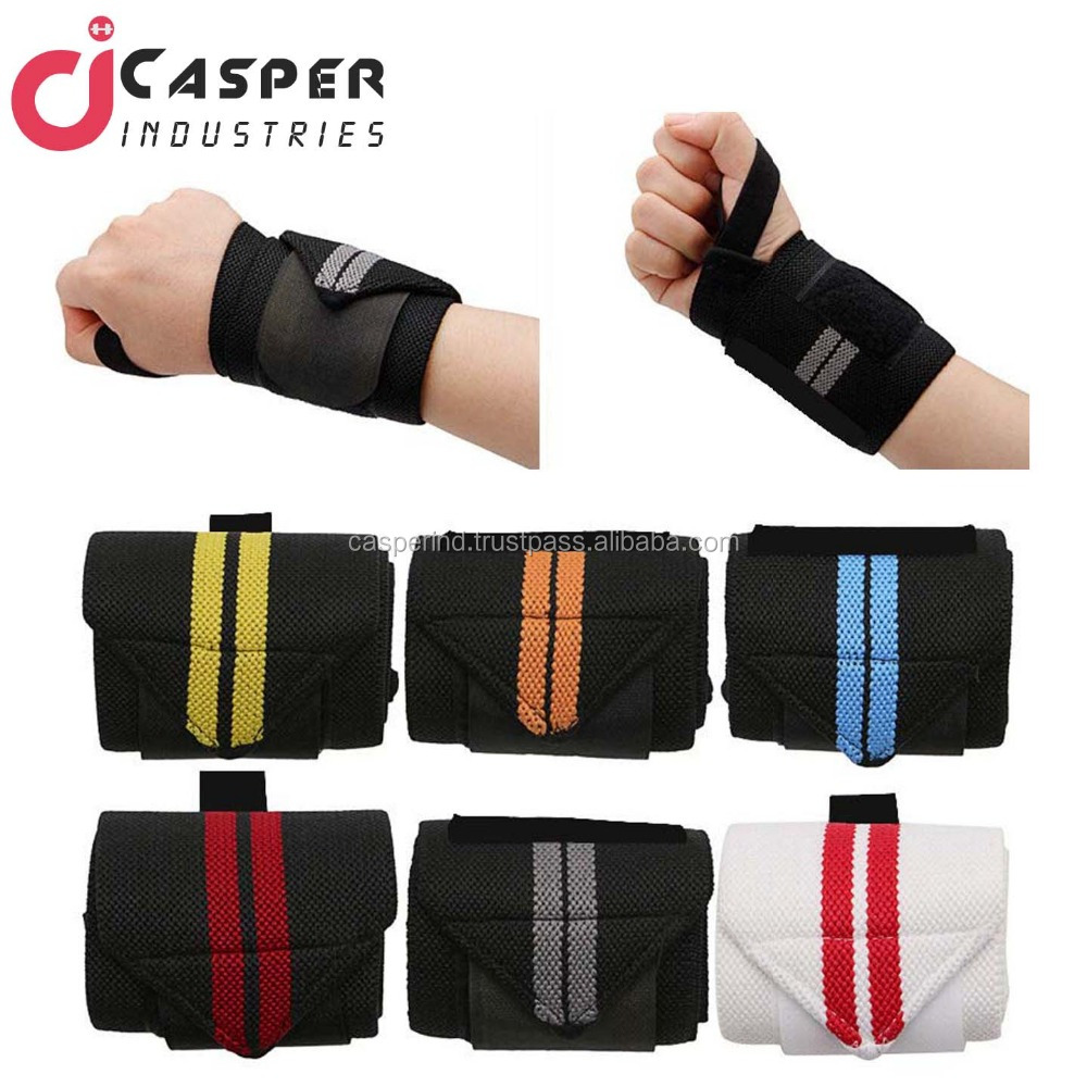 High Quality Weight Lifting Training Gym Straps/Hand Wrist Wraps Heavy 100% Cotton elastic/Power lifting Wrist Wrap Crossfit