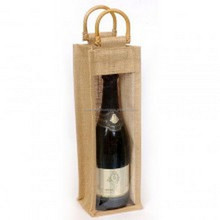 customized recycle jute one wine bottle bag gift bag