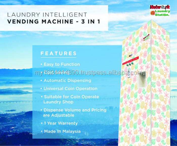 3 in 1 Coin Operated Laundry Intelligent Automatic Vending Machine